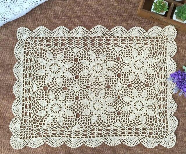 100% Cotton Handcraft Lace Tablecloth Crochet Square Tablecloth 40*60CM  Handmade Crochet Tablecloth White / Beige Home Textiles