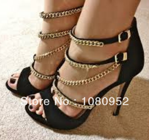 64a54f14328 2014 New Double Chain Sandals T-back with Open Toe Design Gold Chain High Heel  Black Party Shoes Women