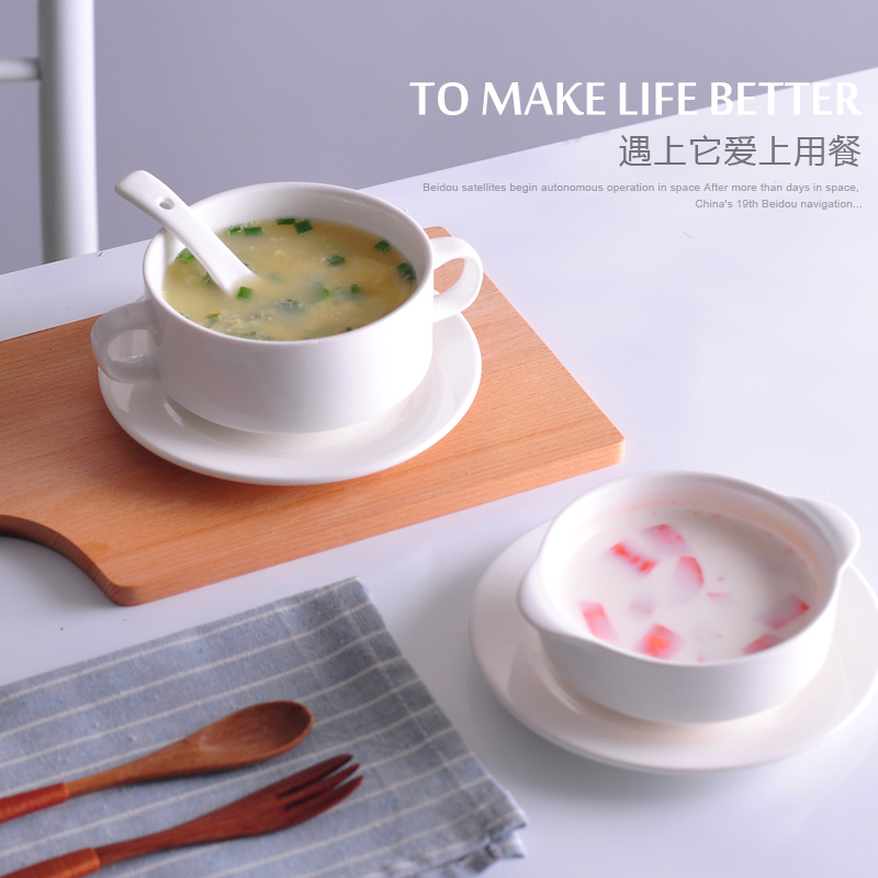Creative restaurant ceramic tableware white soup cup ears font b salad b font bowl of stew