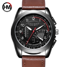 цены Hannah Martin Brand Watches Men Military Sport Waterproof Leather Quartz Watch Man Fashion Wristwatch Male Clock reloj hombre