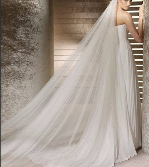 Newest White Bridal Veil Wedding Accessories 1 Layer Floor Length Simple Veils