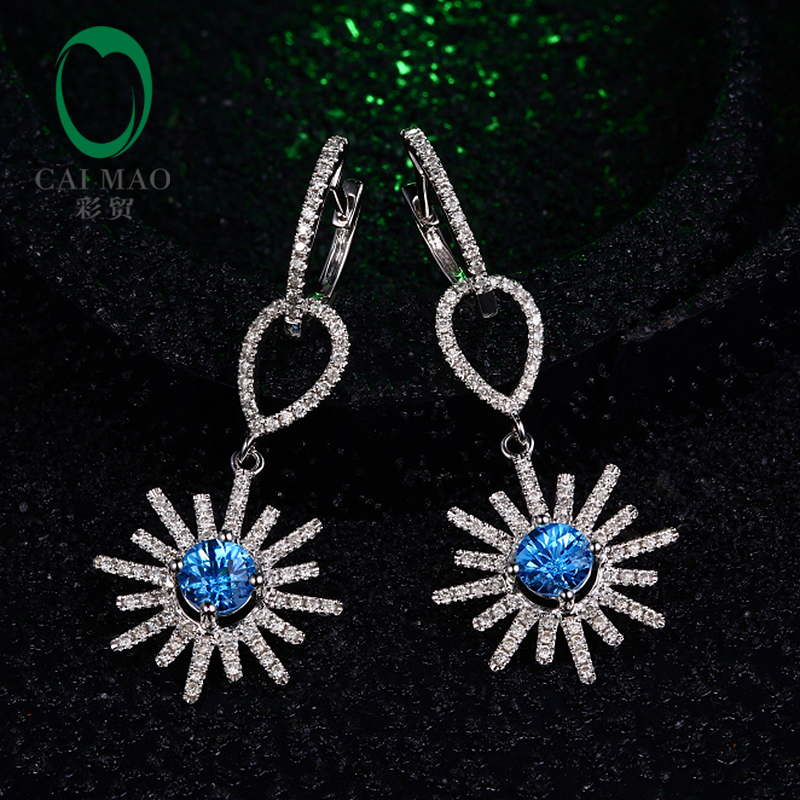 Caimao Solid 14K White Gold Natural Topaz Diamond Snow Shape Drop Earrings Free Shipping 0 28 ct natural diamonds earrings solid 14k white gold snow shape charm jewelry