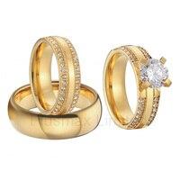 Красивые 3 предмета в комплекте обручальные кольца комплекты золотистого цвета ручной работы cubic zirconia Wedding Band пары Кольца для Для женщин