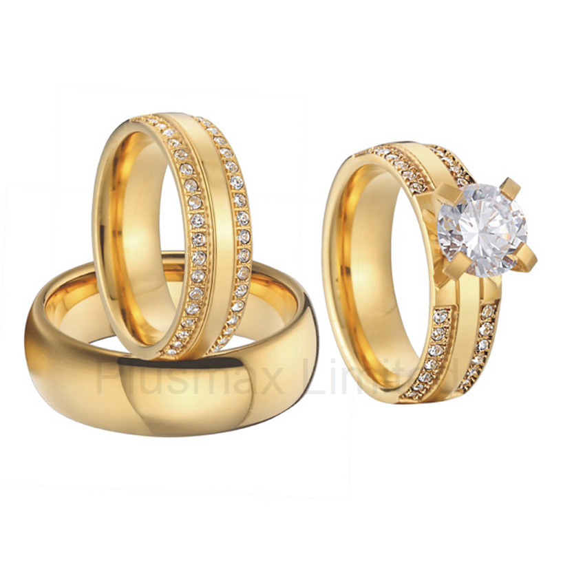 china wholesaler beautiful custom gold color 3 pieces titanium steel couples wedding band engagement rings sets in rings from jewelry accessories on - 3 Piece Wedding Ring Sets