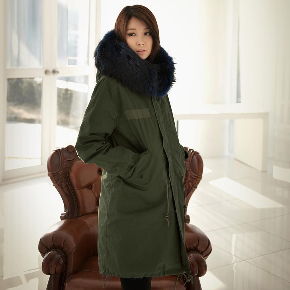 JAZZEVAR 2019 abrigo mujer ejército verde de gran color de piel de mapache con capucha parkas abrigo largo desmontable chaqueta de invierno-in Parkas from Ropa de mujer    2