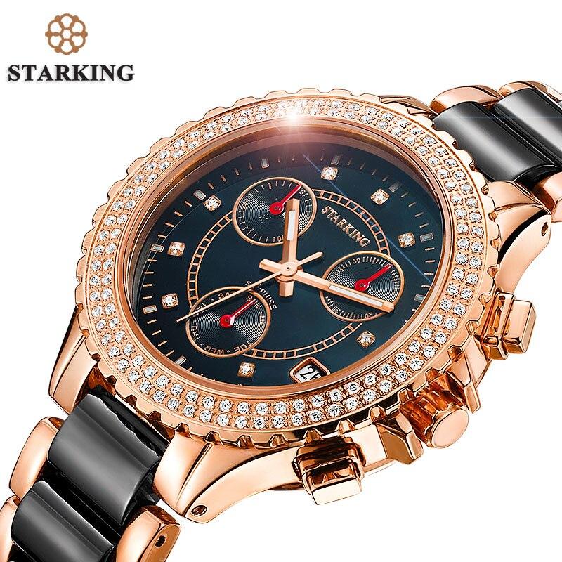 STARKING Black Women's Watches Female Fashion Casual Ceramic Diamond Decoration Luxury Quartz Watch Multi-Function Retro Ure карабин black diamond black diamond rocklock twistlock