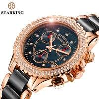 STARKING Black Women's Watches Female Fashion Casual Ceramic Diamond Decoration Luxury Quartz Watch Multi Function Retro Ure