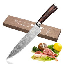 SUNNECKO Professional 8 Chef Kitchen Knife Stainless Steel Blade Mirror Laser Pattern Sharp Meat Knives Pakka Wood Handle