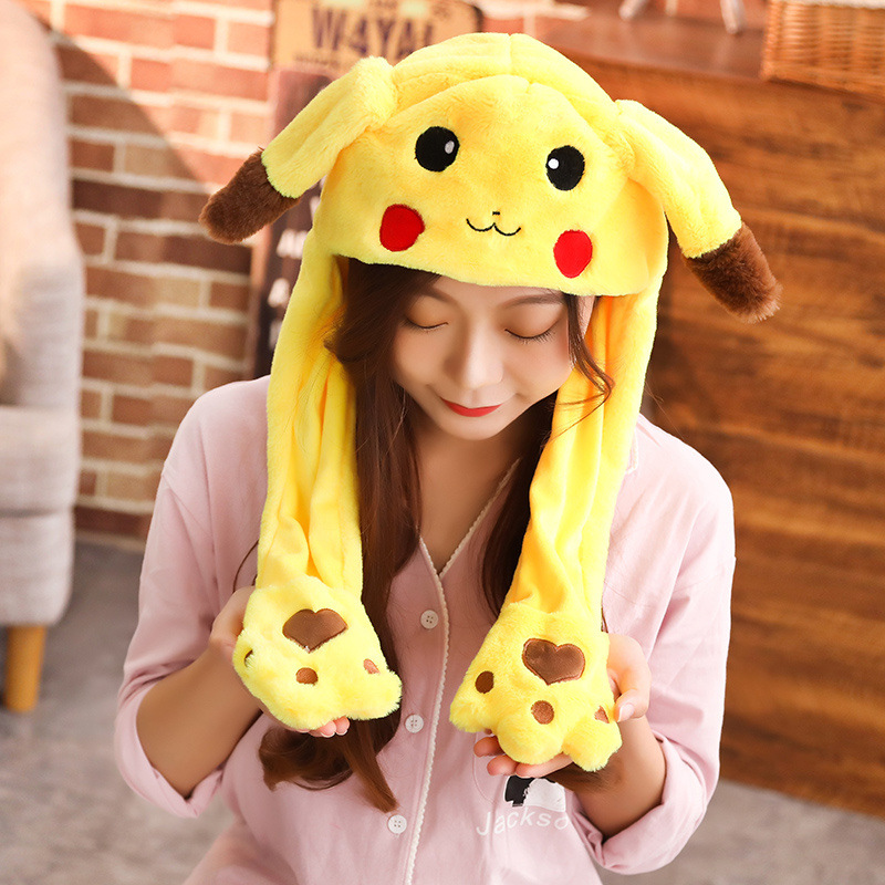 1pcs Cartoon Animal Moving Ear Plush Rabbit Hat Moving Ears Adult Kid Funny Cute Toy Hat Airbag Toy Cap Birthday Christmas Gift