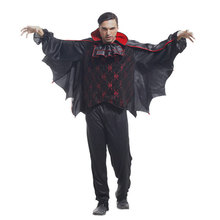 Adult Men Gothic Bat Vampire Costumes Cosplay Halloween Purim Party Carnival Masquerade Mardi Gras Outfit M-0038