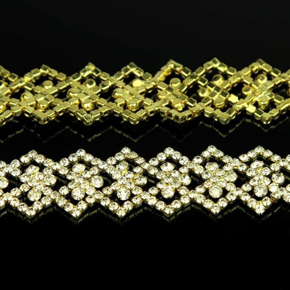 10Yards Golden Glass Rhinestones Applique for Wedding Dress Sewing Accessories Hotfix Rhinestones Silver