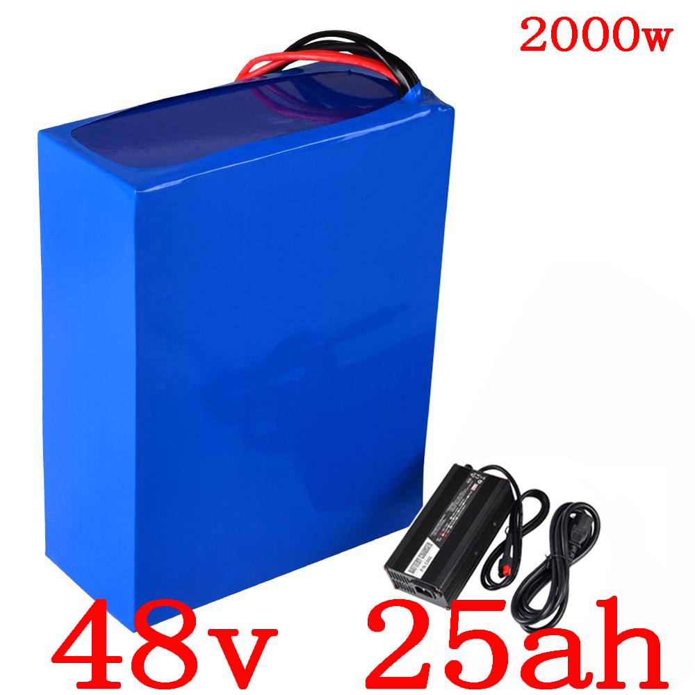 US EU NO Tax 48V battery 48V 25AH Lithium Battery Pack 48V 25AH 2000W electric bicycle battery Built in 50A BMS+54.6V 5Acharger