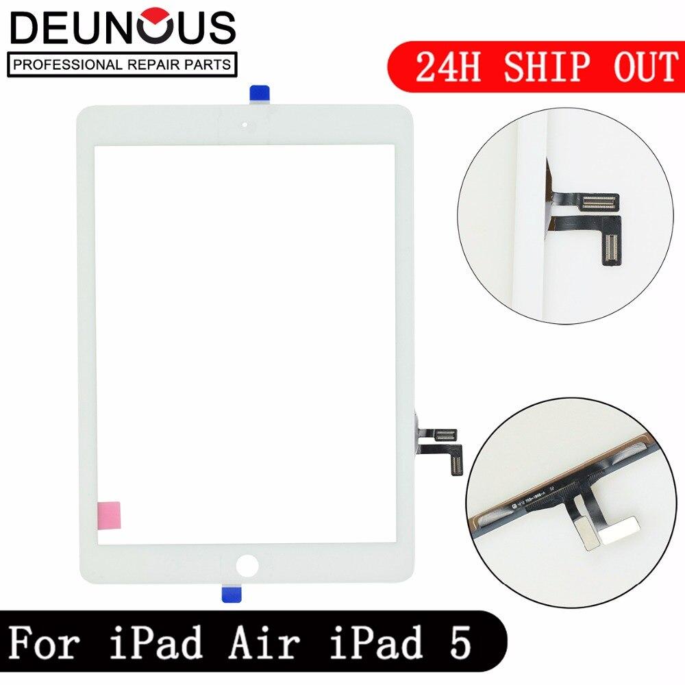 Novo para iPad Air 1 iPad 5 Touch Screen Digitador sem Botão Home Frente Visor De Vidro de Substituição Do Painel de Toque A1475 A1474 A1476