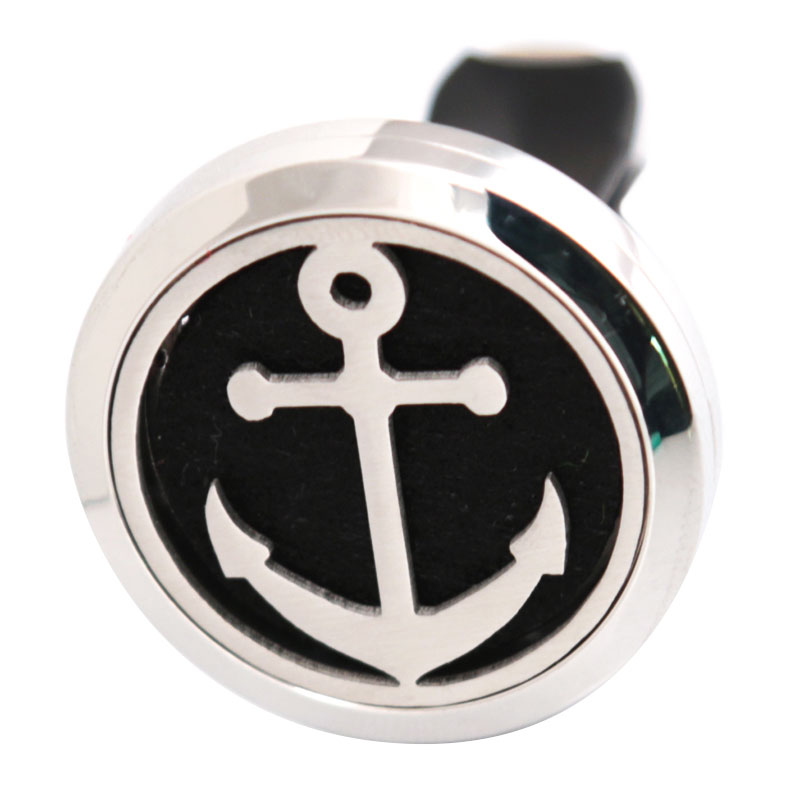 Anchor 30mm Diffuser 316 Stainless Steel Car Aroma Locket Essential Oil Car Diffuser Locket Free 10Pcs Felt Pads