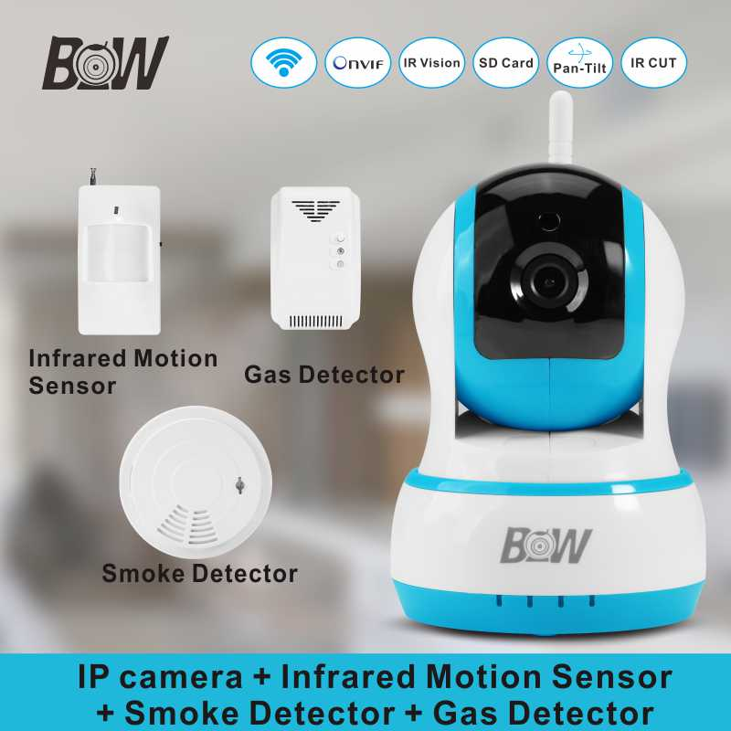 Smart Home Alarm System HD Wireless Security Camera Monitoring IP Camera WiFi + Infrared Motion Sensor Smoke/Gas Detector BW13B 720p hd ip camera security door sensor infrared motion sensor smoke gas detector wifi camera monitor equipment alarm bw13b