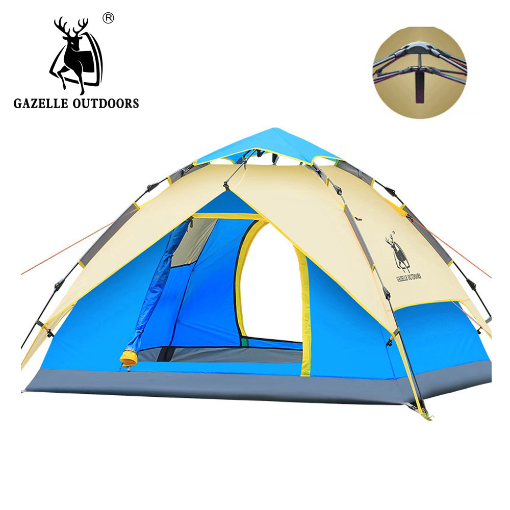 GAZELLE Camping Tent 3-4 person Tents Hydraulic automatic Waterproof Double Layer Tent Ultralight Outdoor Hiking Picnic tents 3 4 person windproof waterproof anti uv double layer tent ultralight outdoor hiking camping tent picnic tent with carrying bag
