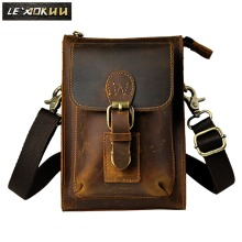 2016 New Top Quality Genuine Real Leather men vintage Brown Small Belt Messenger Bag Hook Waist Pack Bag 6402