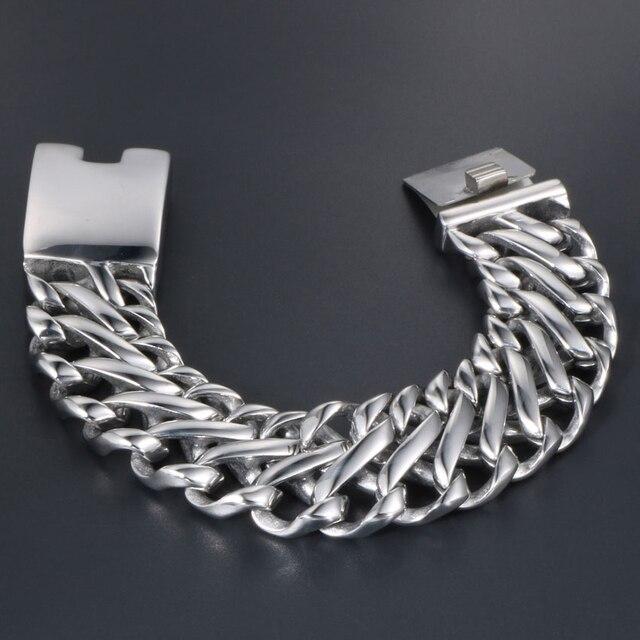 Punk Rock Dad Mens Gifts Massive Large Bracelet For Men Heavy Polished Stainless Steel Link Chain Jewelry Friendship Bracelets