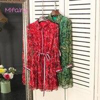 2017 Red Green Turn Down Collar Long Sleeves Women Dress High End Cascading Ruffles Print Silk