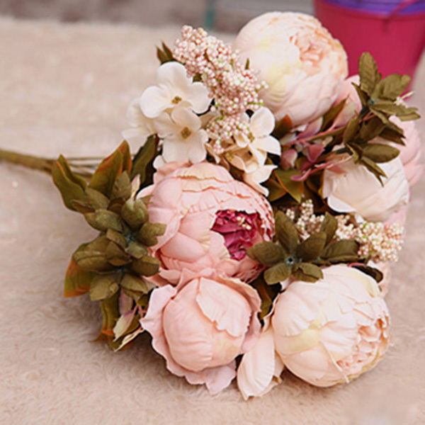 Hot Sale Realistic Decorative Flower Artificial Silk Fake Peony Home