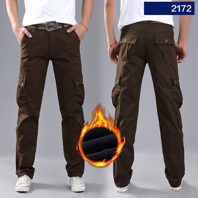 Pants Men's Double Layer Military Army Camouflage Tactical Cotton Baggy Pants Warm Trousers