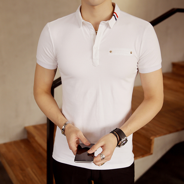2017 White Navy Gray Short Sleeve Polo Shirt Men Business Casual Mens Polo  Shirts Camisa Polo Masculino Polos Homme PA31 8d38ddaf45c2