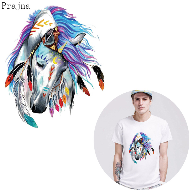 Prajna Heat Transfer Patch Sticker Transfer Vinyl Iron On Transfer For Clothes Jacket T shirt Thermal Unicorn Horse Patch Fabric