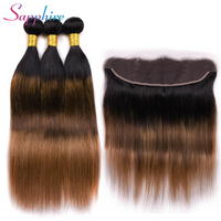 Sapphire Hair Peruvian Straight Hair 3 Bundles With Frontal 100% Human Hair Weaves 13*4 Lace Frontal Closure Ombre Color