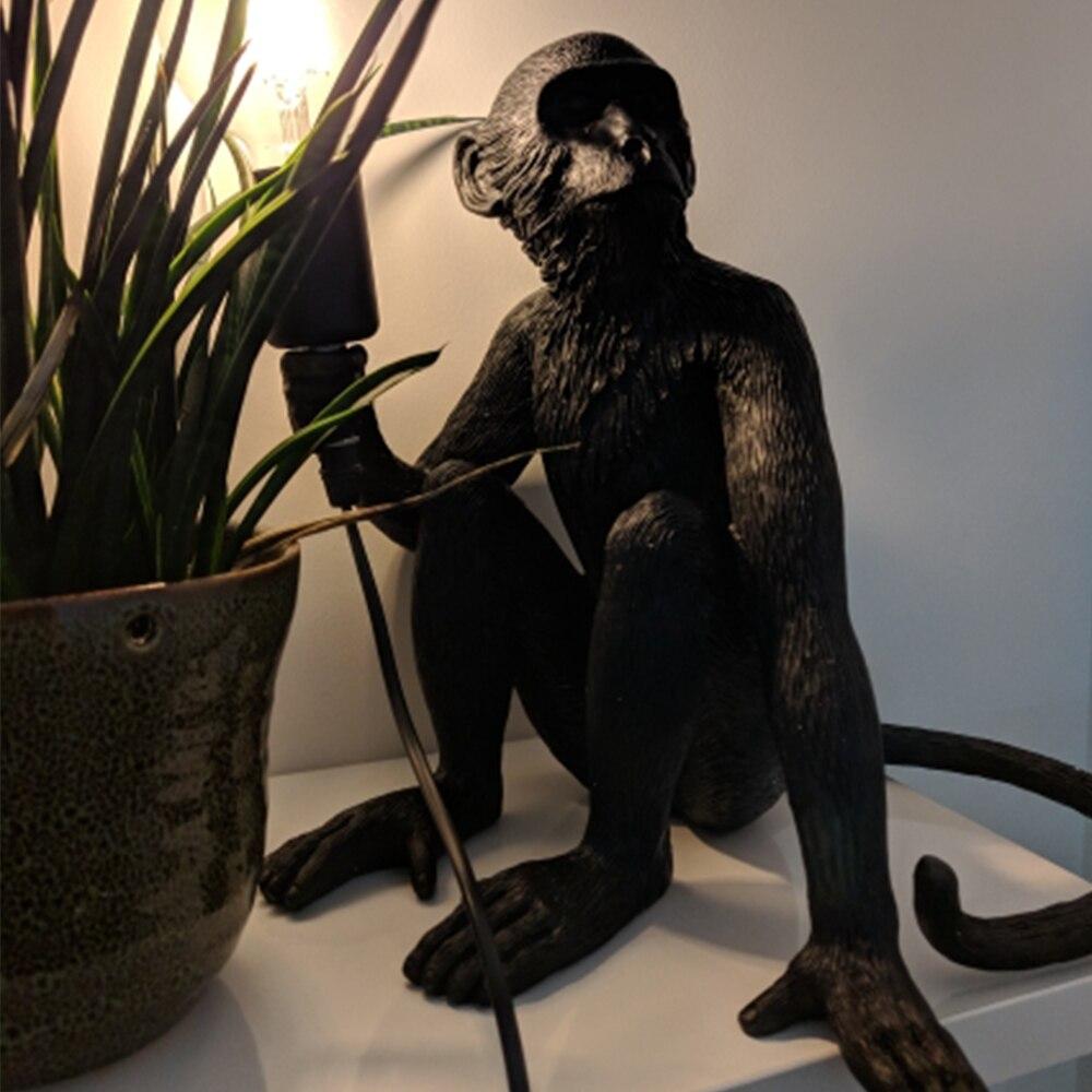 Resin Black White Gold Monkey Lamp Pendant Light For Living Room Lamps Art Parlor Study Room Led Lights lustre With E27 Led Bulb - 3