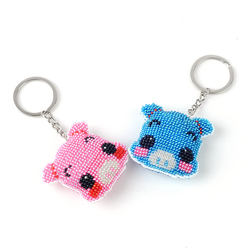 Diy Bead Embroider Toys Children Adult Couple  Keychain Lovely Pig Full Cross-stitch Beads Two-sided Printing 2018 New Wholesale