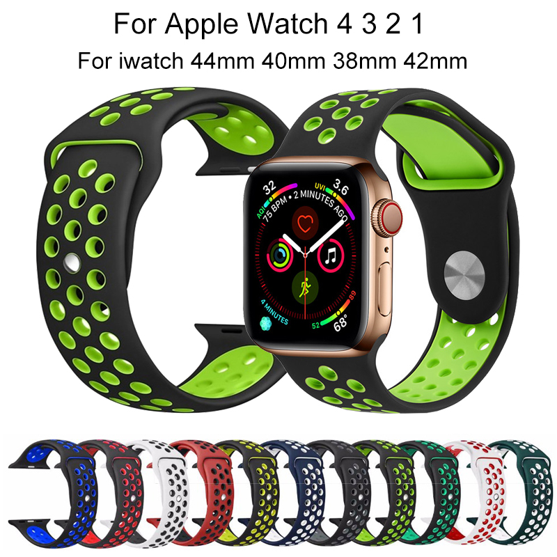 Silicone Breathable Sports Bracelet Strap For Apple Watch band 4 44 40mm compatible For iwatch series 3 2 1 42 38mm accessories in Watchbands from Watches
