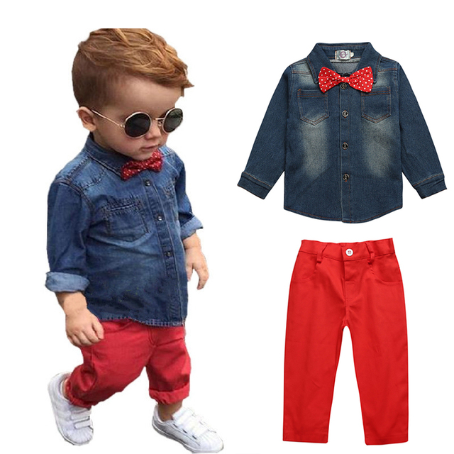 5e599f37c8d7 Hot Sale Children Clothing Denim Shirt+Red Pants 2 Pcs Baby Boy ...