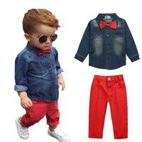 Hot Sale Children Clothing Denim Shirt Red Pants 2 Pcs Baby Boy Clothes Set Fashion Baby