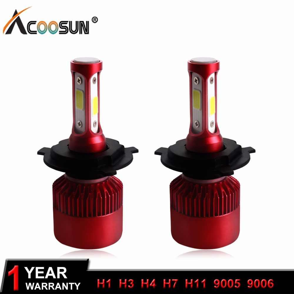 AcooSun 12V H4 Led Car lamps H7 LED Headlights Bulb H3 COB LED Headlight Auto Fog Light 6500K H11 9005 9006 H1 9012 72W 9600LM