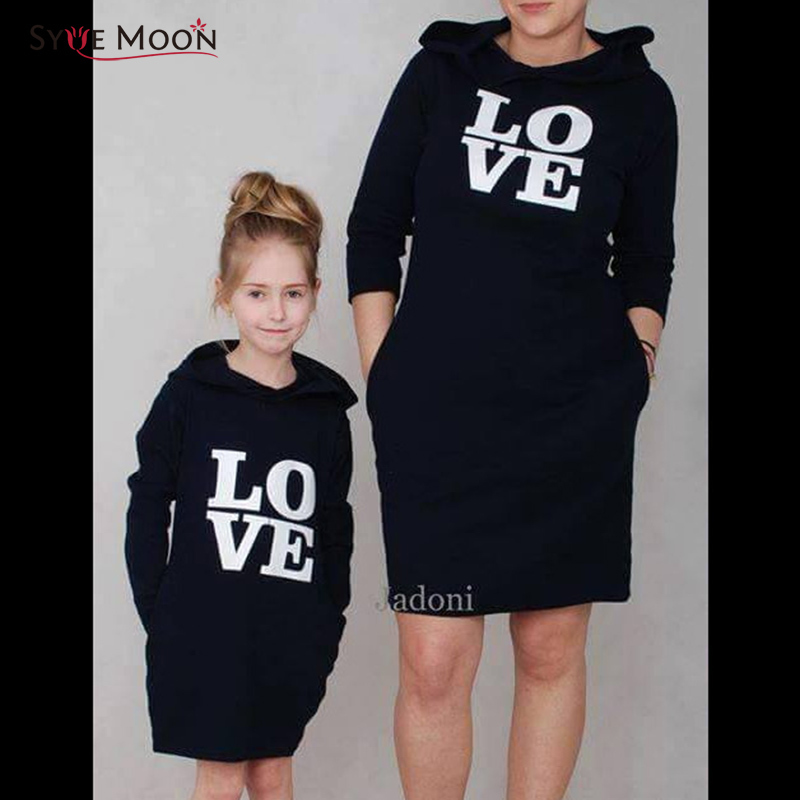 Mother Daughter Sweatshirts Dresses Love Print Family Matching Clothes Outfits Mom And Daughter Hoodies Dresses Family Clothing