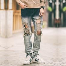 ГОРЯЧИЕ моды 2015 новых мужчин байкер skinny ripped проблемные отверстие старинные джинсы мужские Плюс Размер M-2XL