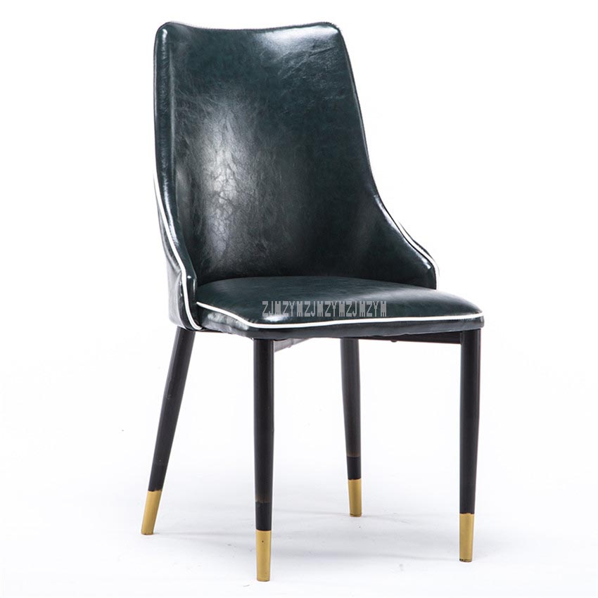 High Quality Modern Simple Oil Wax Leather Dining Chair For Dining Room Living Room Office Reception Chair Soft Seat Cushion