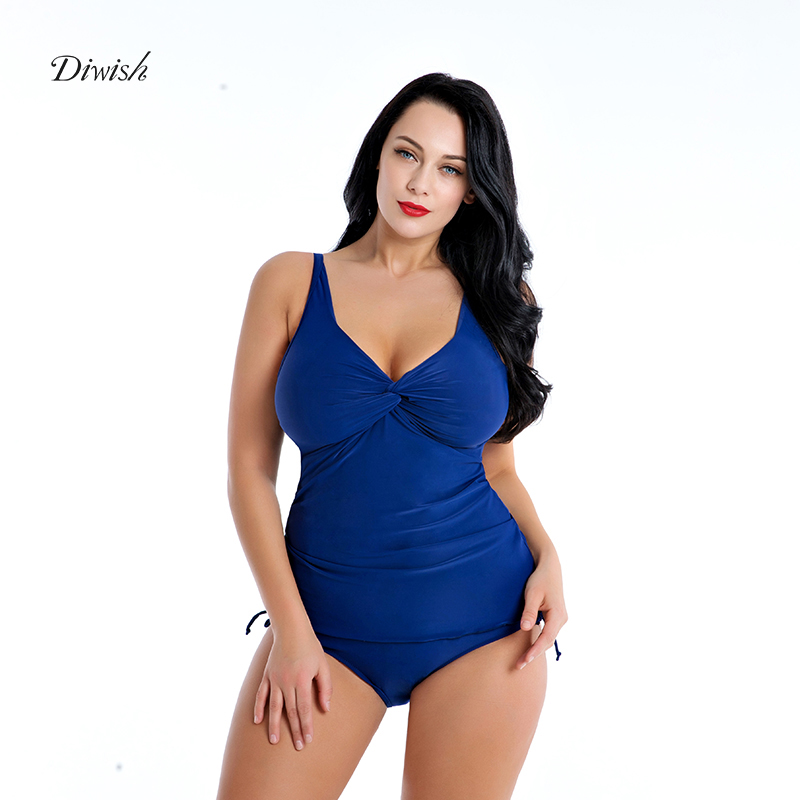 Diwish Two Piece Swimsuit For Women 2019 Swimming Suit Solid Color V-Neck Modest Tankini 5XL Push Up 4XL-8XL Plus Size Swimwear