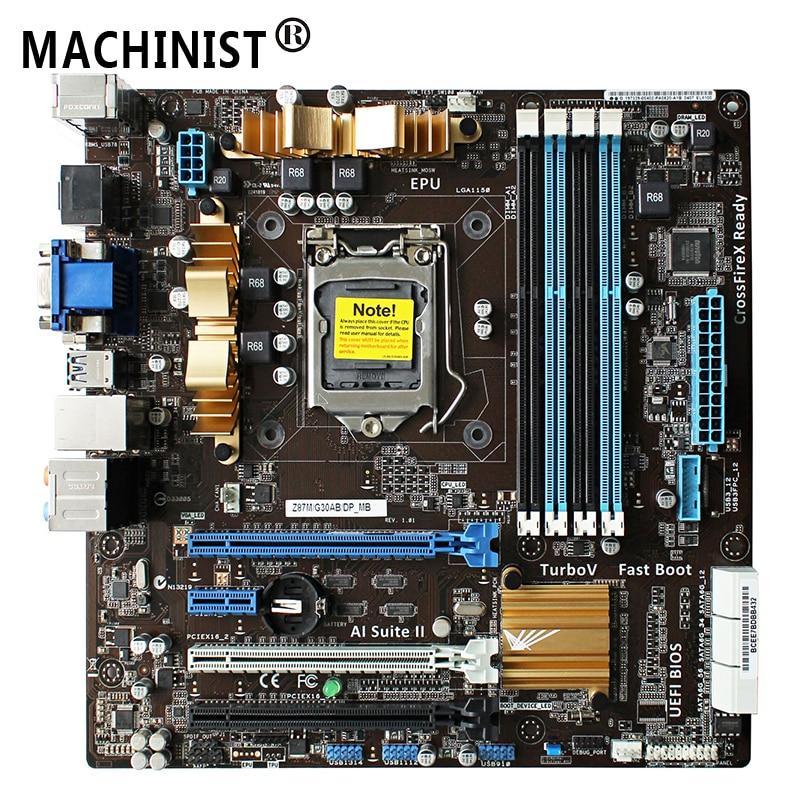Original pour ASUS Z87M/G30AB/DP_MB Z87 carte mère de bureau MB LGA 1150 DDR3 M-ATX 100% entièrement testé livraison gratuite