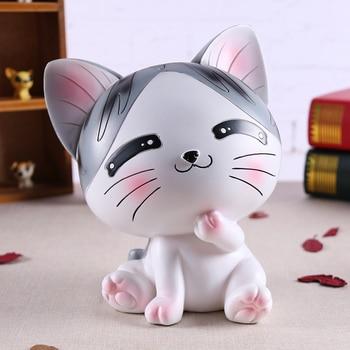 Creative Cartoon Cat Piggy Bank Cheese Cat Money Box Children's Birthday Gift Holiday Gifts Desktop Crafts Ornaments