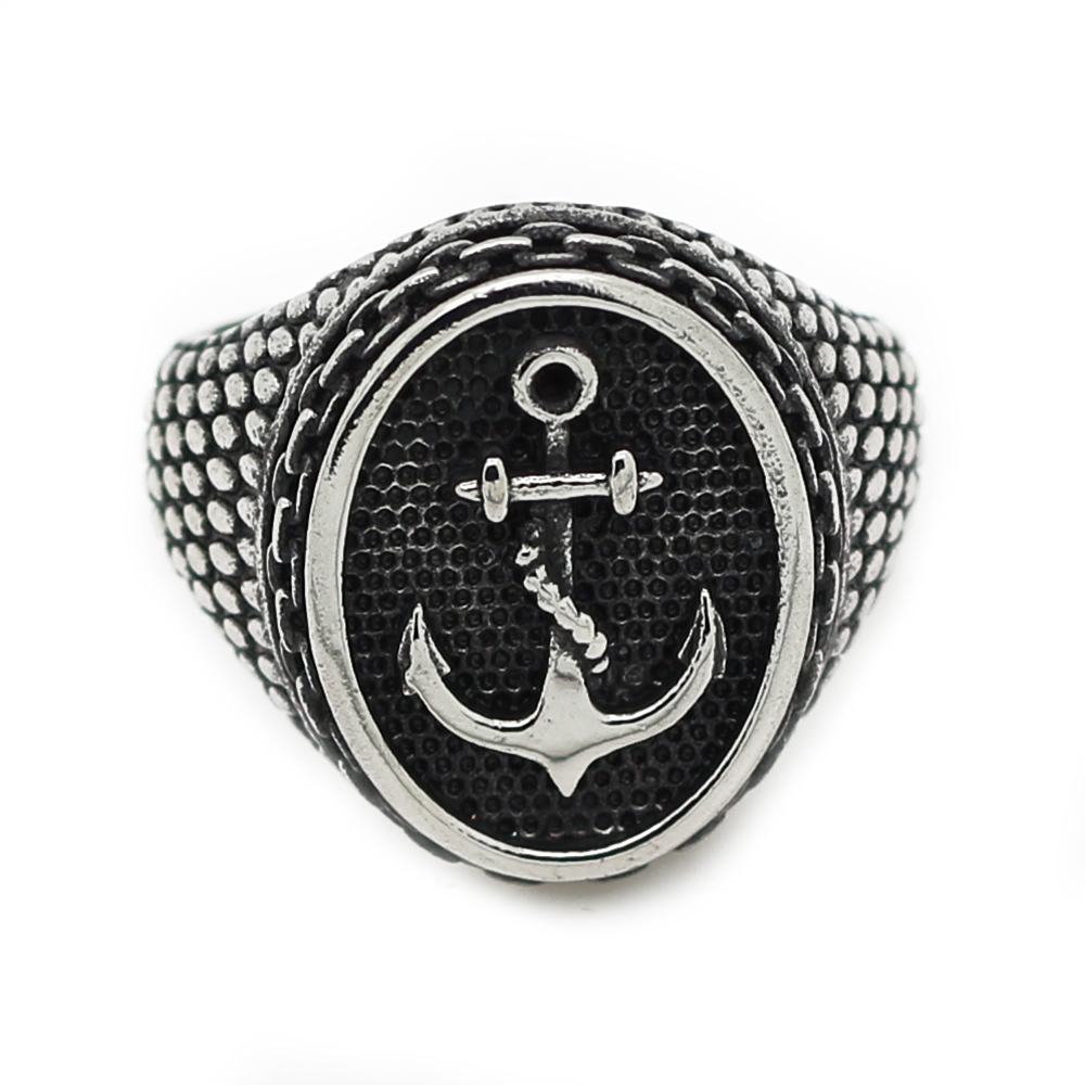 Silver black boy charm cool stainless steel biker ring for What metal is best for jewelry