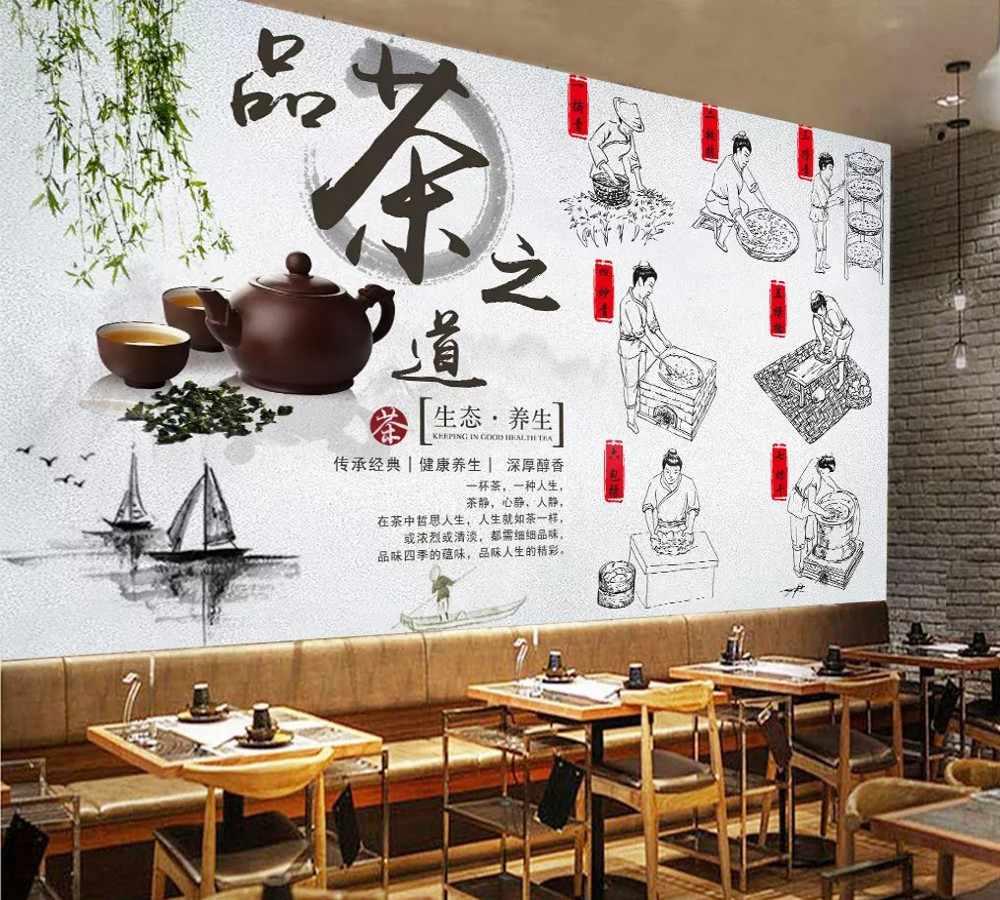 送料無料カスタム壁紙壁画生態健康茶道茶ピッキング生産プロセス中国の