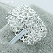 DOTEFFIL – bague en argent Sterling 925 pour femme, bijou de charme à la mode, Design plein cœur, fête de fiançailles, mariage