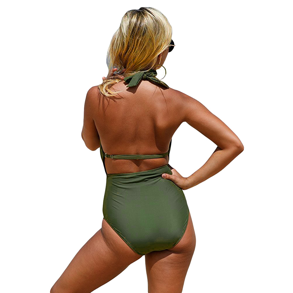 Newest One Piece Swimsuit Women Sexy Deep V-Neck Bandage Monokini Swimwear Female 2017 Bathing Suit Beach Wear S-XL 3