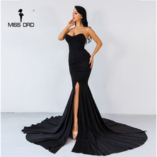 Missord 2017 Sexy wrapped chest asymmetric maxi dress party dress FT1683