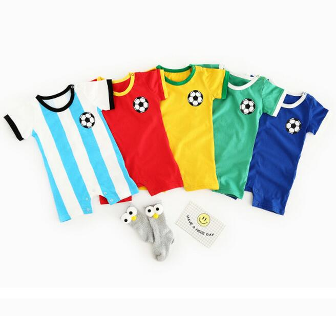 Cotton Newborn font b baby b font clothes Football Sport toddler Jumpsuits multi Colors Short Sleeve