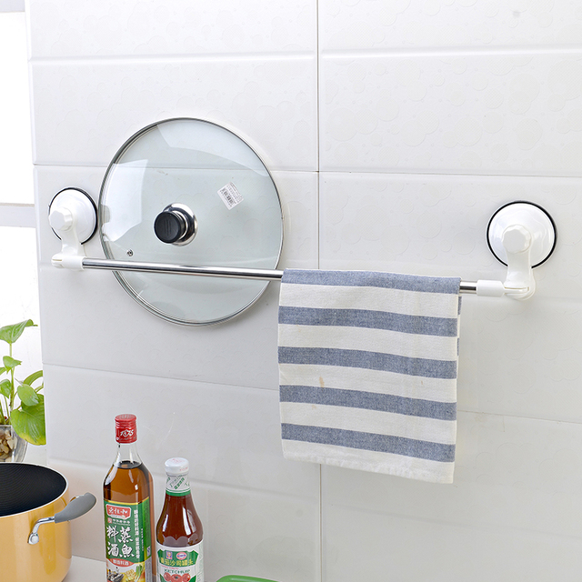 Free Shipping Suction Cup Wall Mount Type Home Accessories Removable Bathroom Folding Corner Towel Rack
