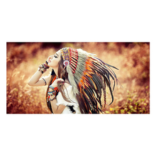 Native American Indian Girl Canvas Portrait Painting Nordic Wall Art