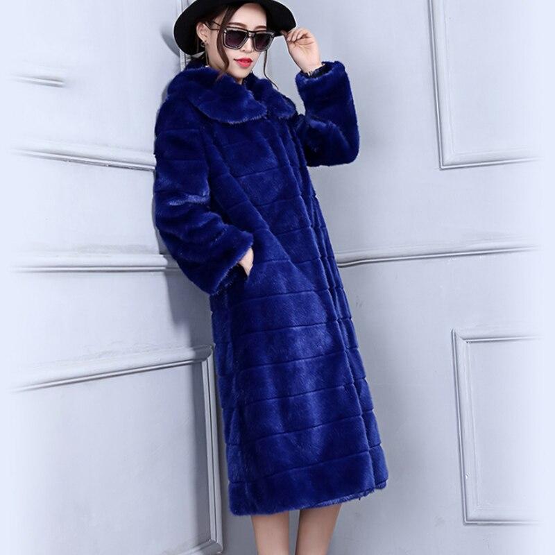 Rayé De Jade Manteaux Fourrure royalblue 2017 Royal down Doux Turn Longues Manches Faux Imitation Col Vison Manteau Augmenter Fierté Brown Bleu Nouveau O7HrO6