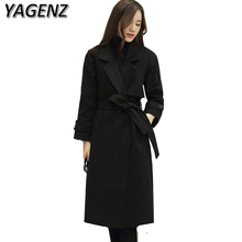 YAGENZ Winter Warm Women Jacket Coat Double Breasted Slim Temperament Lady Woolen Coat Solid Casual Lady Long Jacket Plus size